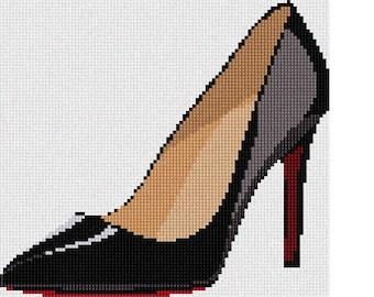 Needlepoint Kit or Canvas: Patent Leather Heel