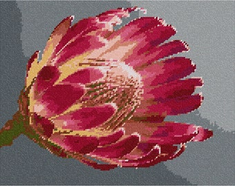 Needlepoint Kit or Canvas: Protea Flower