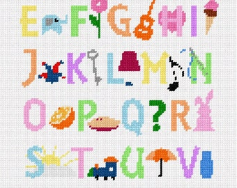 Needlepoint Kit or Canvas: Whimsy Abc