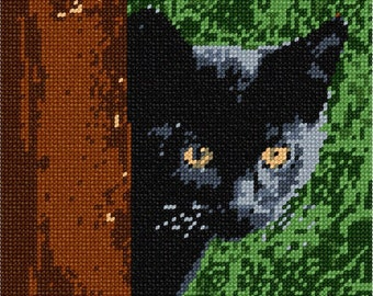 Needlepoint Kit or Canvas: Cat Around Tree