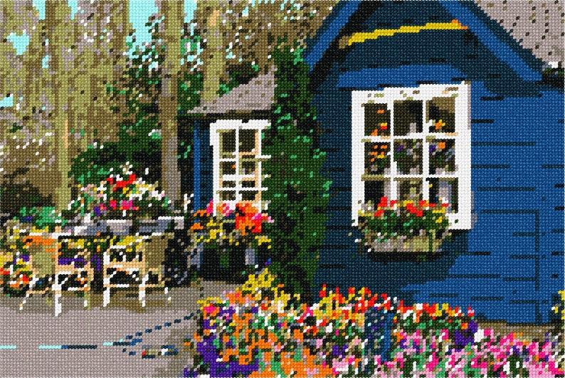 Needlepoint Kit or Canvas Flower Shop