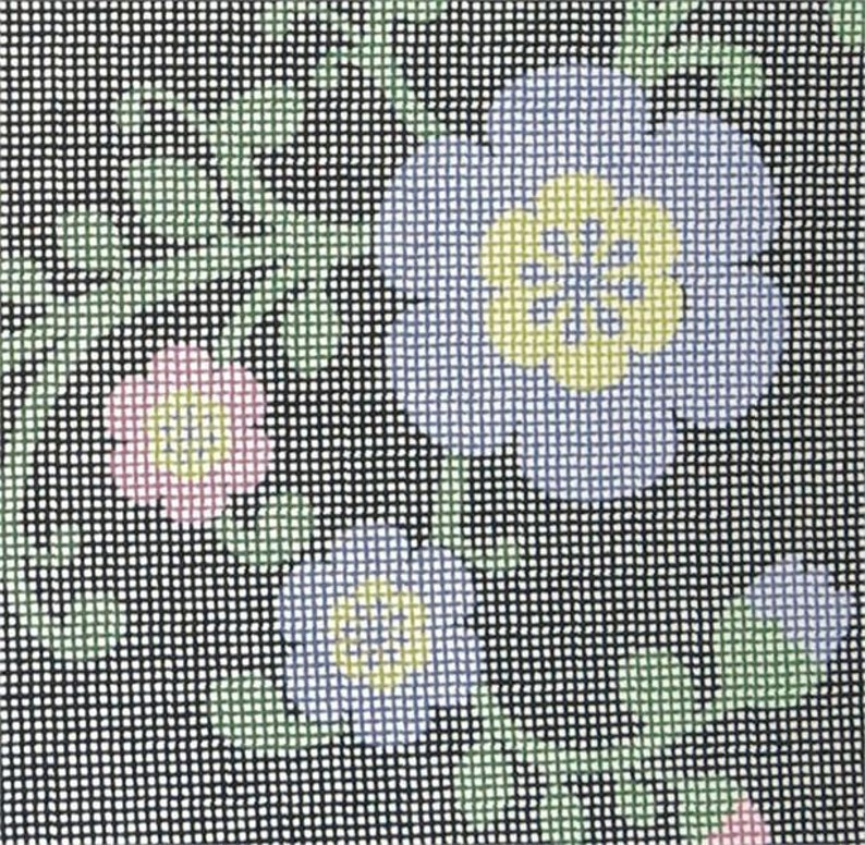 Tallit Flowers Buds Navy Needlepoint Kit or Canvas