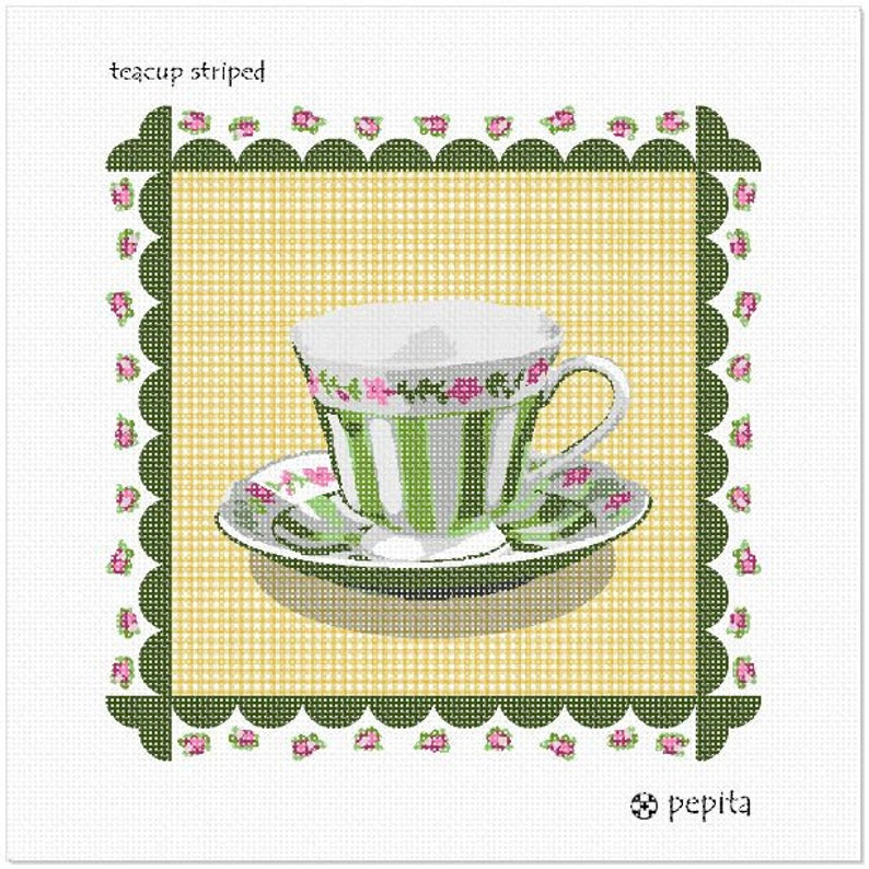 Teacup Striped Needlepoint Kit or Canvas