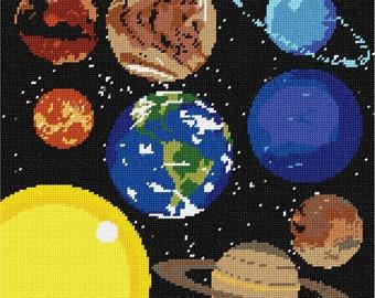 Needlepoint Kit or Canvas: Solar System