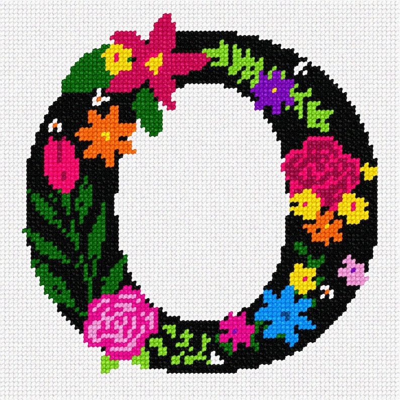 Needlepoint Kit or Canvas Letter O Primary Floral