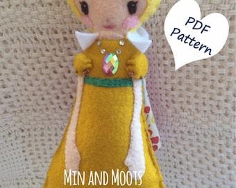 PDF PATTERN: A Splendid Tale, Princess Doll. Instant Download. Softie Pattern. Plushie Pattern. Felt Doll Pattern.