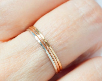 Tri Color Stacking Rings- Set of 3 colors Rose Gold Yellow Gold Sterling Silver- Extra Thin Bands Petite Dainty Rings Gold Filled skinny