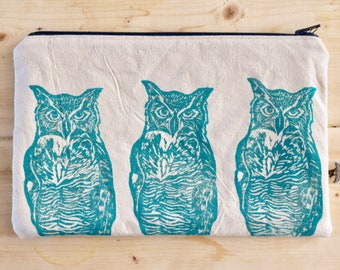 Organic canvas great horned owl pencil case
