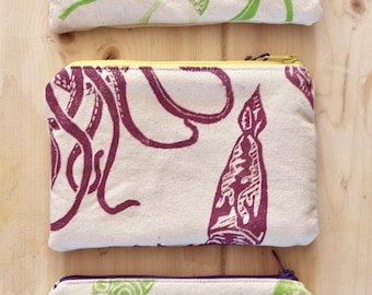 Small Organic Zipper Project Bag giant squid
