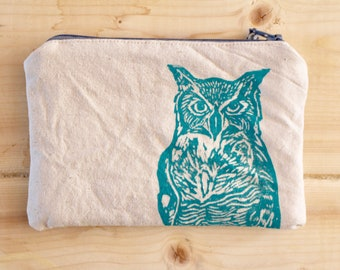 Small Organic Zipper Project Bag great horned owl