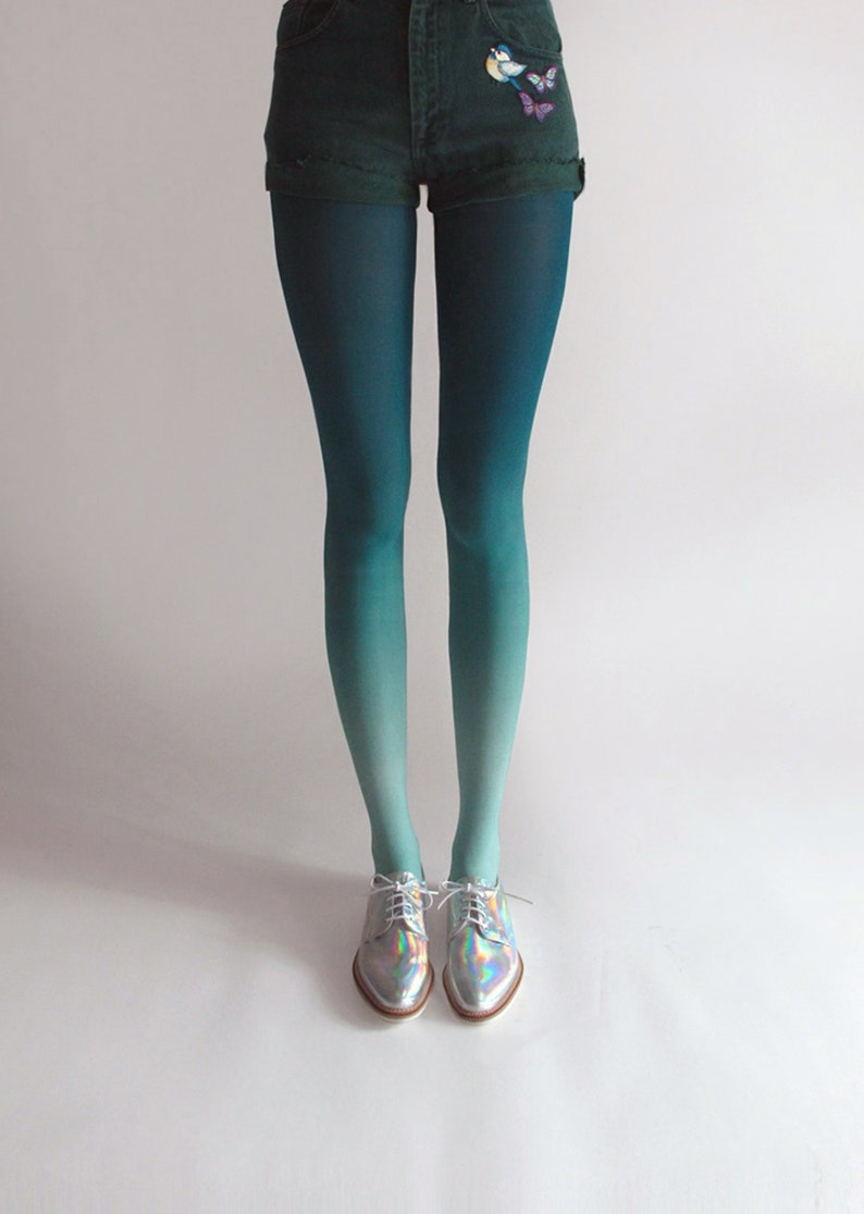 Ombré Tights in Mermaid image 0