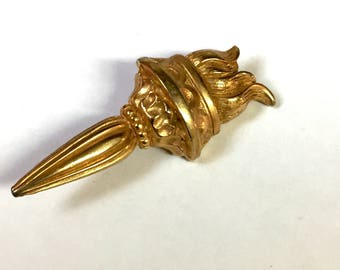 Vintage Olympic Torch Brooch Novelty Torch Gold Tone Brooch
