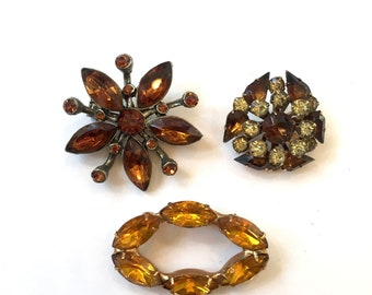 Vintage Lot of Three Amber & Topaz Rhinestone Brooches Marquise Shaped Rhinestone Brooch