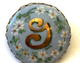 Vintage Porcelain Hand Painted Brooch Letter 'G' Brooch Monogramed Brooch