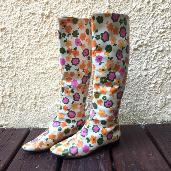 Vintage 1960s Go Go Boots GoGo Boots Flower Power