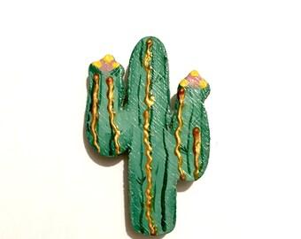 Vintage Wood Painted Cactus Brooch Southwestern Brooch Cute Novelty Brooch