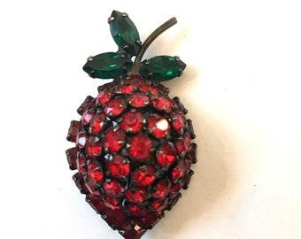Vintage Rhinestone Strawberry Brooch Red Rhinestone Fruit Brooch