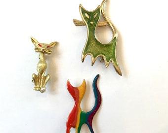 Vintage Cat Brooch Painted Enamel Cat Brooch Rainbow Cat Brooch Mod Cat Brooch