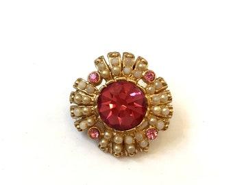 Vintage Pink Rhinestone & Faux Pearl Brooch Small Seed Pearl Brooch
