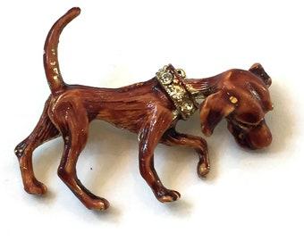 Vintage Dog Trembler Brooch Enamel Dog Brooch with Rhinestone Collar