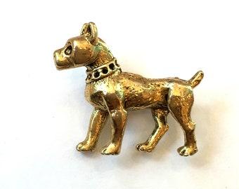 Vintage Dog Brooch Gold Tone Boxer Brooch Boxer Dog Brooch