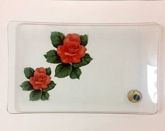 Vintage 1960s Chance Glass Floral Rose Tray With Gold Trim Made In England
