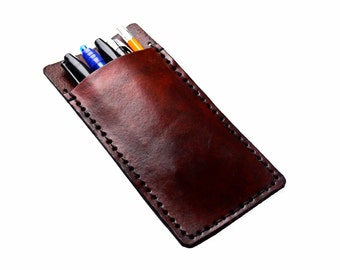 Customizable Leather Pencil Pouch or Pocket Protector