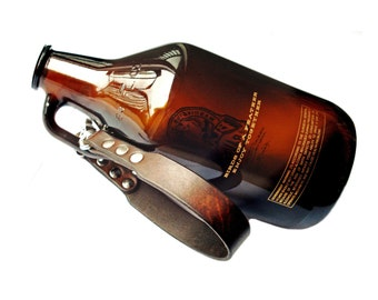 Customizable Leather Growler Hand Strap with Trigger Snap