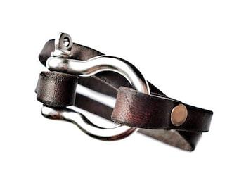 Customizable Leather Double Wrap Shackle Bracelet