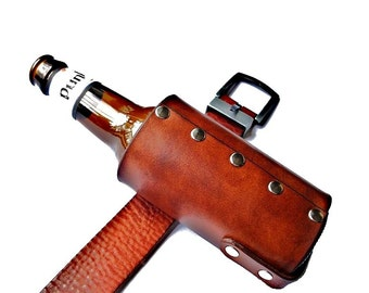 Customizable Leather Universal Belt Clip Bottle Holster