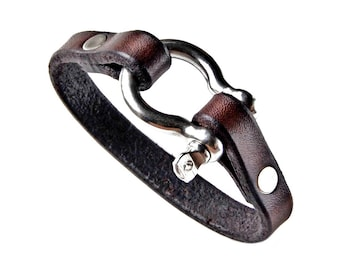 Customizable Leather Shackle Bracelet