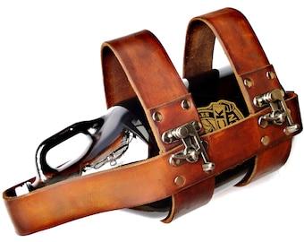 Customizable Leather Swing Clasp Growler Transporter