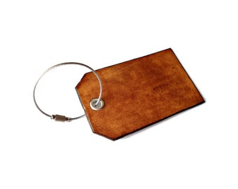Customizable Leather Luggage Tag with Security Wire