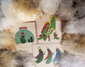 Christmas's pickle greeting cards