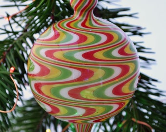 Hand Blown Ornament, Art Glass, White, Red, Yellow & Green Colors, Unique