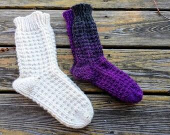 Kari Slipper Socks PATTERN / Chunky Knit Socks / Textured Slipper Socks Knitting Pattern