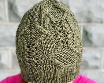 Arkenstone Hat Knitting PATTERN   Cables and Lace Hat Pattern