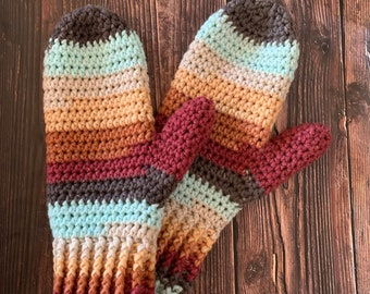 Crochet PATTERN - Rustic Cabin Mittens  // Child L // Ladies S/M/L/XL // Worsted weight mittens // mittens for kids // adult mittens