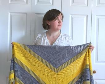 Silvertongue Shawl KNITTING PATTERN / triangle shawl pattern / cabled shawl pattern / lace shawl pattern / choose your own adventure shawl