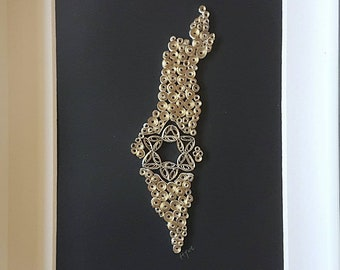 Quilling Paper Art. Jewish Art. Israel's Map Art. Gold Star of David map .Judaica Gift.Jewish Wedding gift
