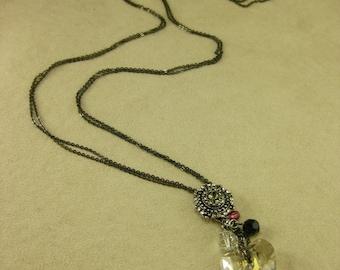 Long Necklace of Swarovski Moonlight Crystal Heart - MAKE TO ORDER