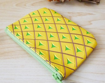 PINEAPPLE pvc zipper pouch, fruit coin purse, small bag, cosmetic bag,hawaiian,summer,yellow and green, beach,kawaii,miniatures, kitsch gift