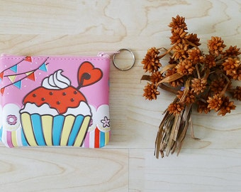 CUPCAKE pvc zipper pouch, colorful coin purse, cute small bag, cosmetic bag, summer, pink,party,sweet,sugar,kawaii,miniatures, gift for kids