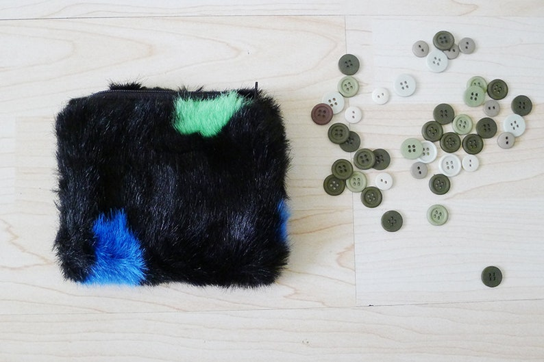 funny abstract speck color mini bag makeup bag change purse,lipstick bag Fluffy small zipper pouch Handmade Black Furry coin purse gift