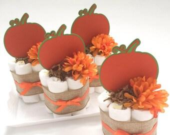 Set of 4 Little Pumpkin Mini Diaper Cakes. Little Pumpkin Baby Shower Decorations. Halloween Baby Shower Decoration. Fall Baby Shower.