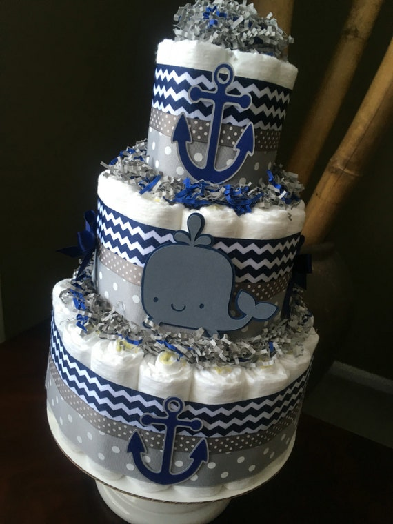 Navy And Grey Diaper Cake Baby Shower Centerpiece New Baby Etsy