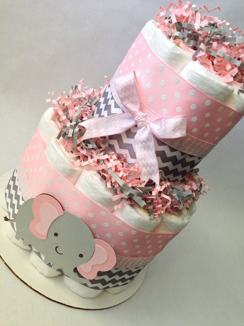 Baby Shower Centerpiece Pink and Grey Elephant Diaper Cake Pink and Grey Baby Shower Decoration New Baby Gift Baby Girl Baby Shower