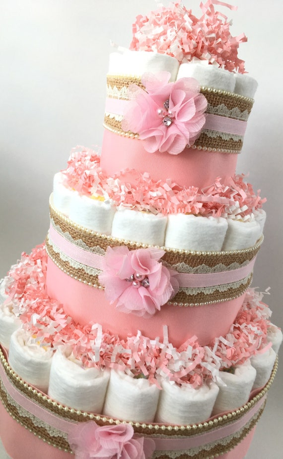Burlap And Lace Pink Diaper Cake For Baby Girl Baby Shower Etsy