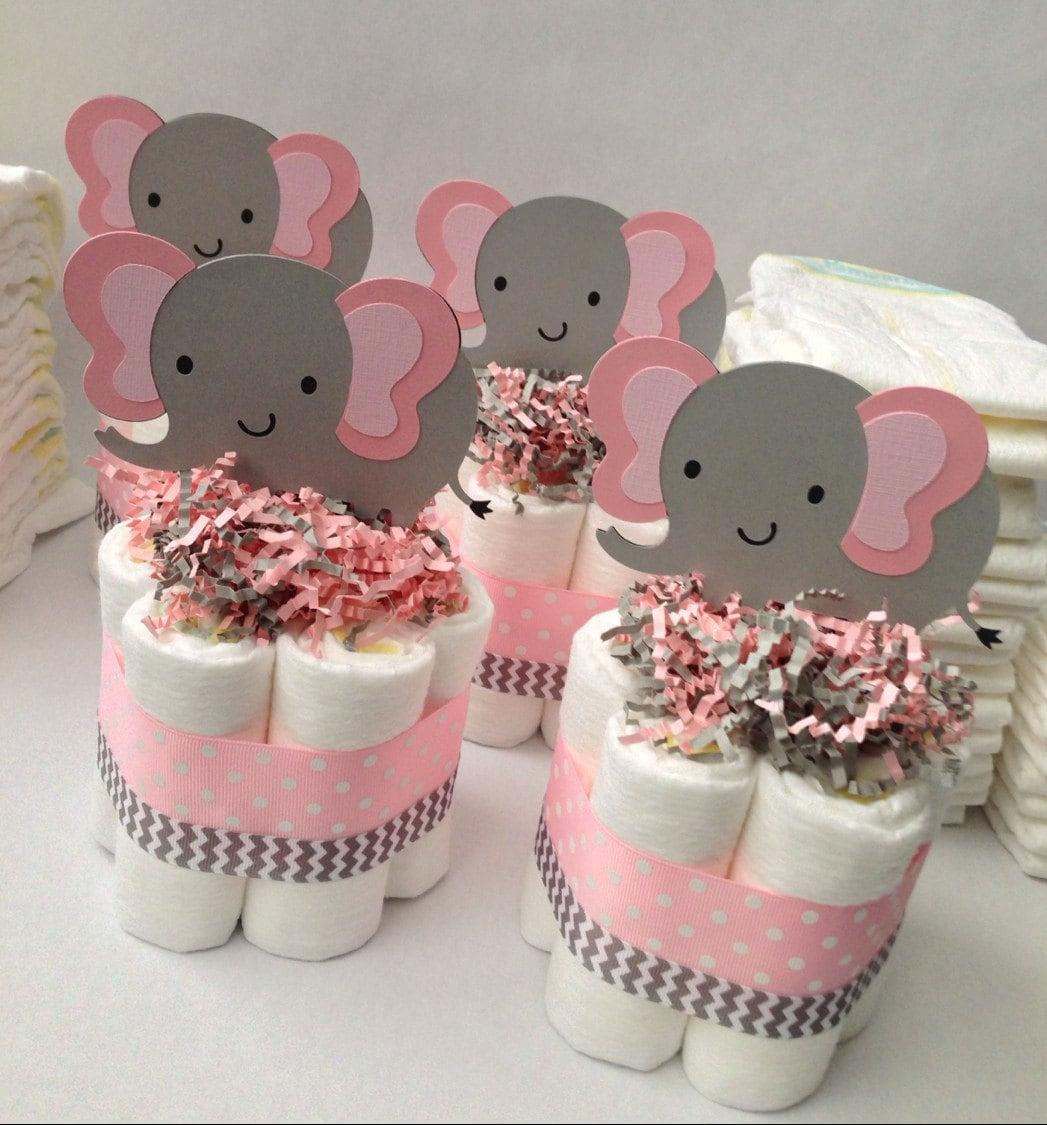 FOUR Pink Grey Elephant Mini Diaper Cakes Baby Shower | Etsy