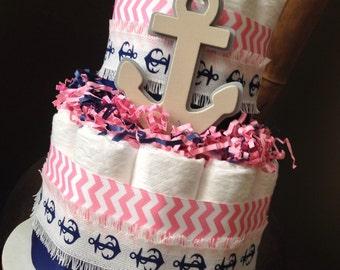 Nautical Diaper Cake, Pink and Navy Diaper Cake, Baby Shower Centerpiece, New Baby Gift, Nautical Baby Shower, Baby Girl Shower